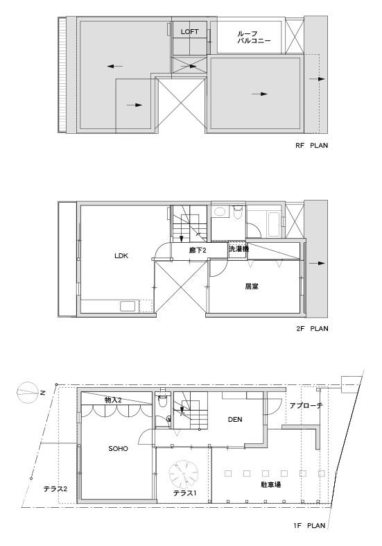SOHOのある家平面図,神戸,設計事務所